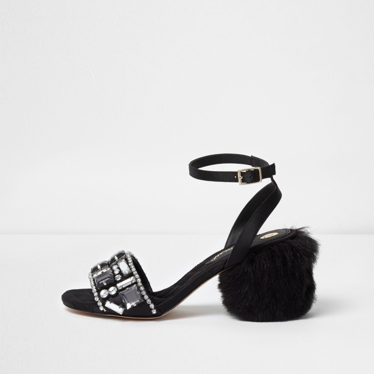 Black embellished faux fur block heel sandals