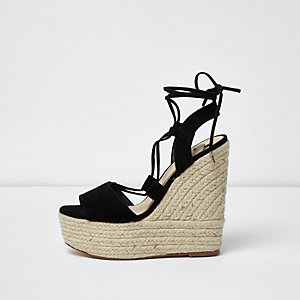 Black tie up espadrille platform wedges
