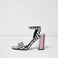 Pink stripe two part block heel sandals