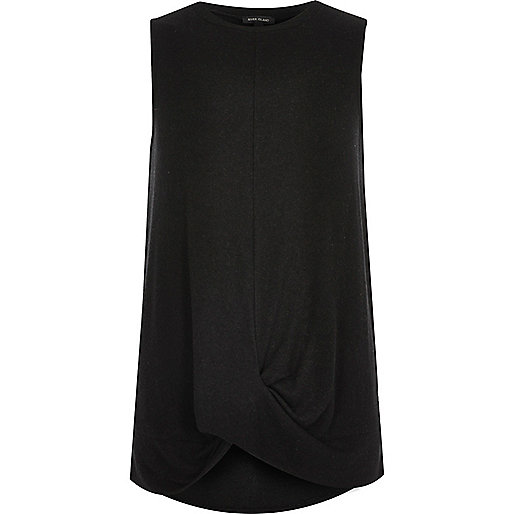 Black twist front tank top