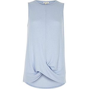 Pale blue twist front tank top