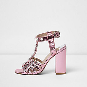 Pink stud T-bar block heel sandals
