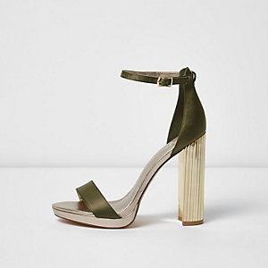 Khaki barely there platform sandals
