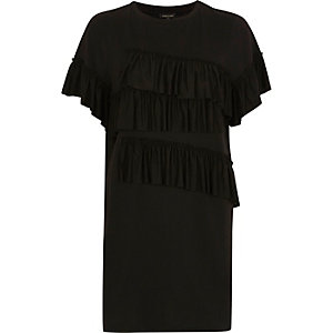 Black frill oversized longline T-shirt