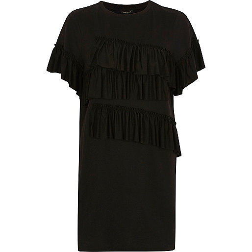 Black frill oversized longline T-shirt
