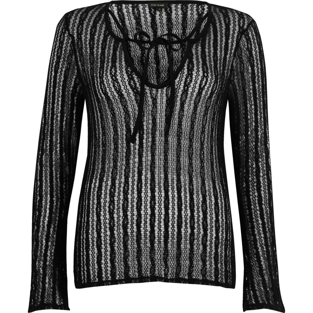 Black open mesh lace-up front top