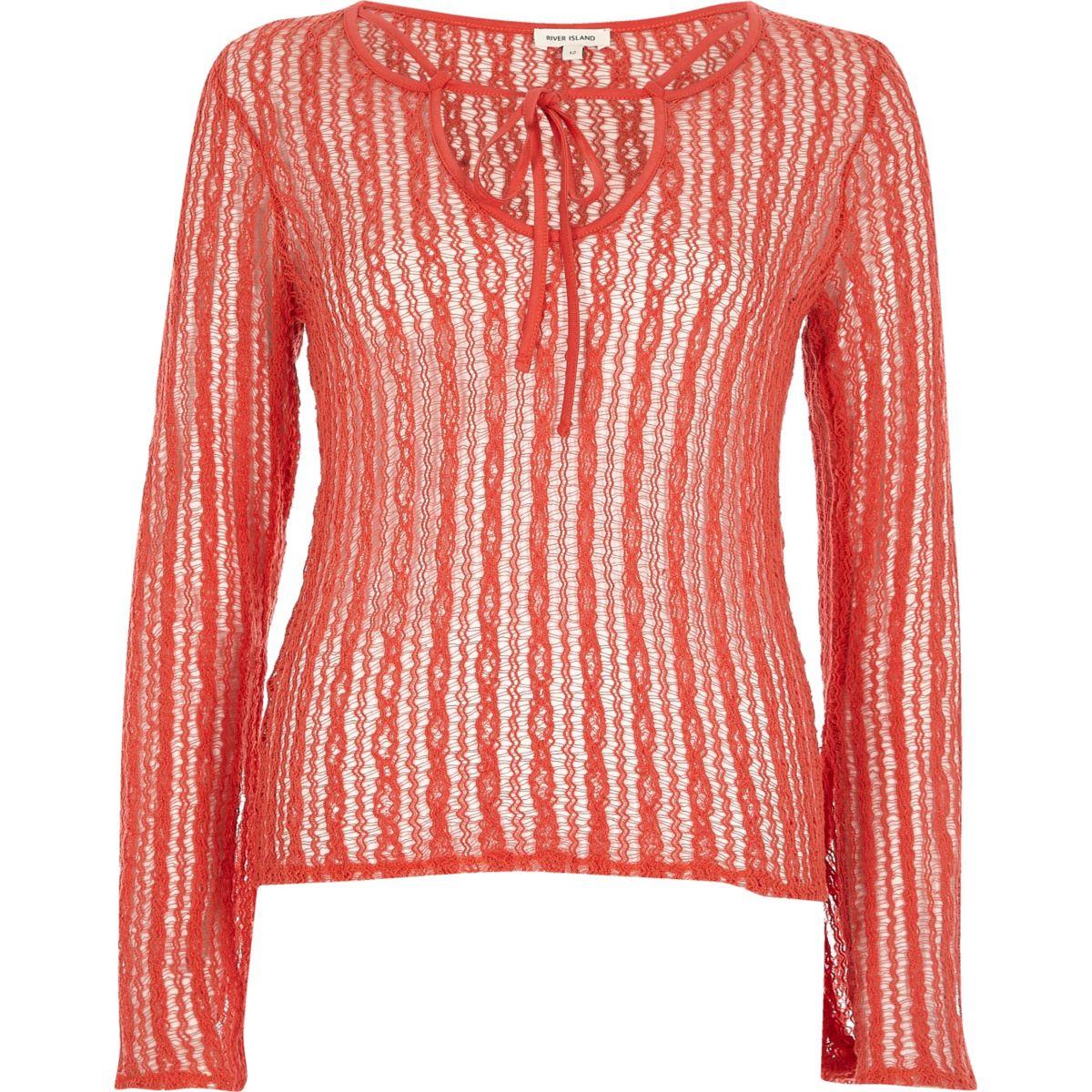 Orange open mesh lace-up front top
