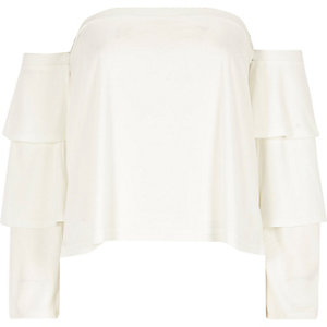Cream tierred frill sleeve bardot top