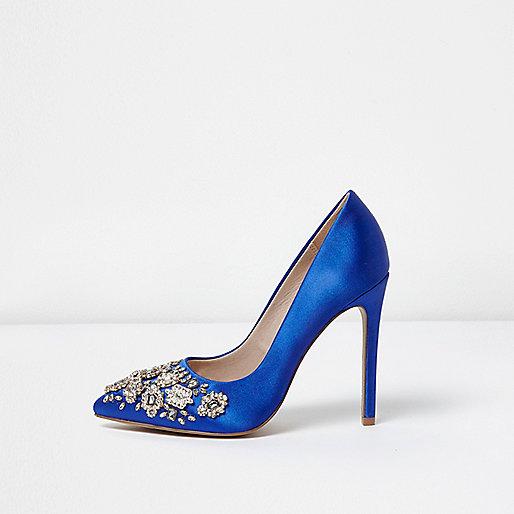 Blue satin rhinestone embellished pumps
