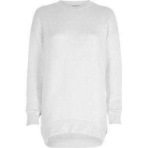 Weißes Sweatshirt mit asymmetrischem Saum