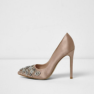 Gold satin rhinestone embellished pumps