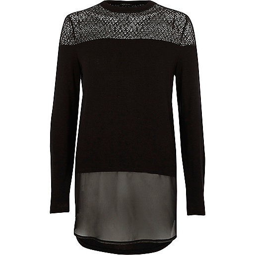 Black lace and mesh layered top