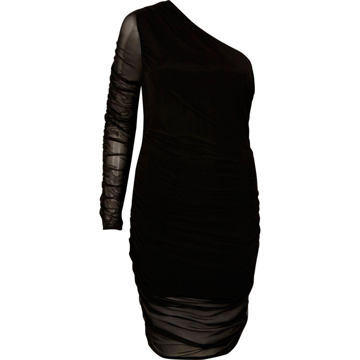 Schulterfreies Kleid aus schwarzem Netzstoff