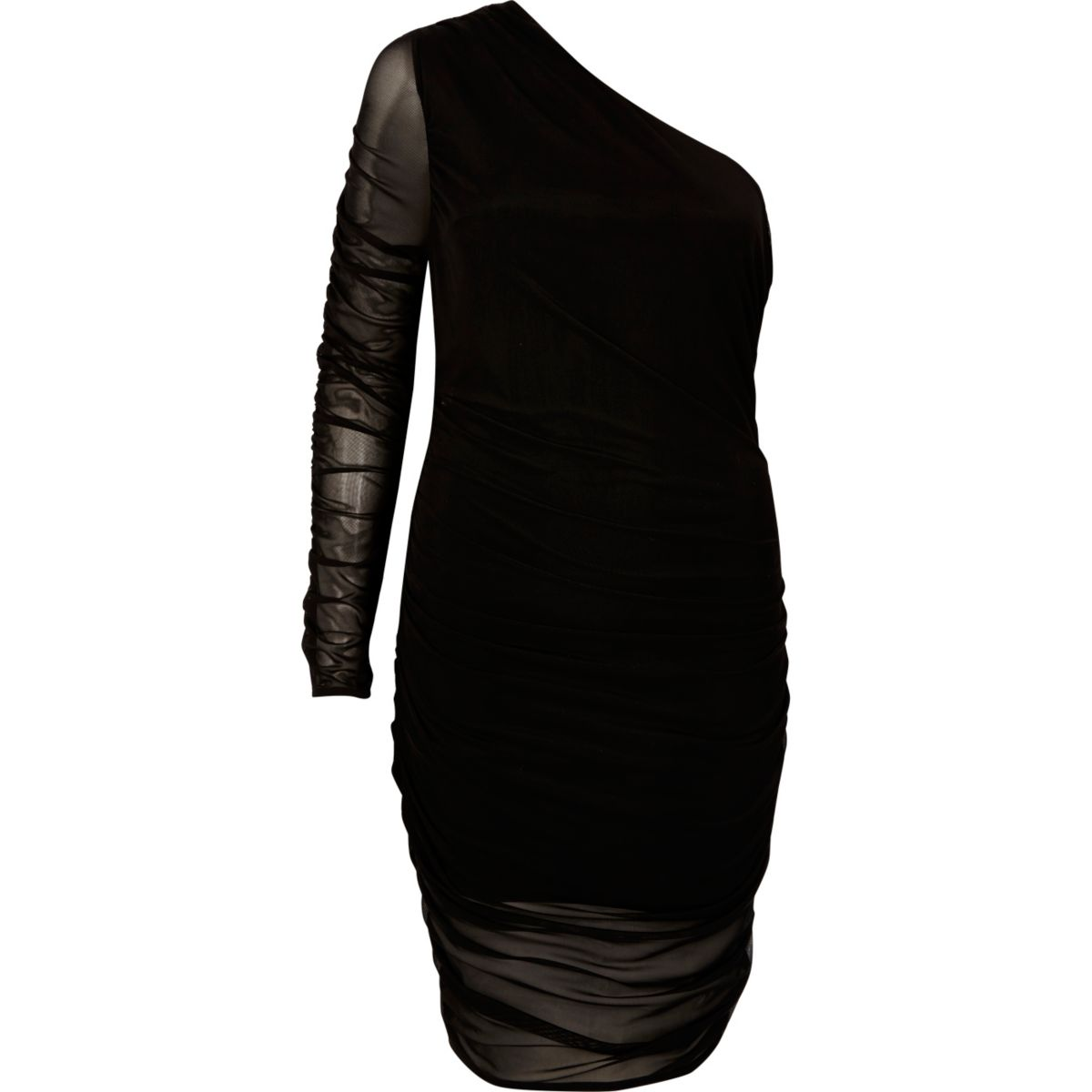 Zwarte jurk met ontblote schouder en ruches van mesh