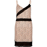 Nude and black lace cami slip dress