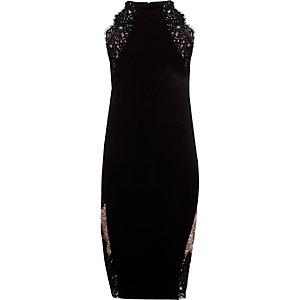 Zwarte bodyconmidi-jurk met kanten inzetstukken