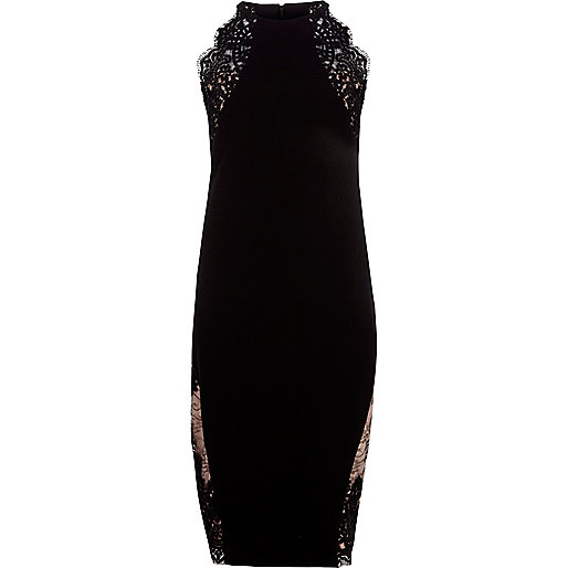 Black lace insert bodycon midi dress