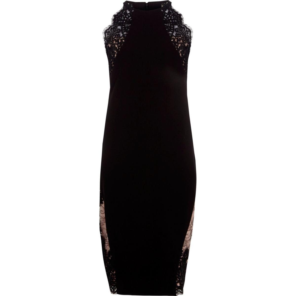 Black lace insert bodycon midi dress