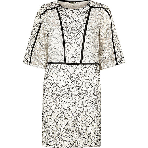 White floral lace flared sleeve dress