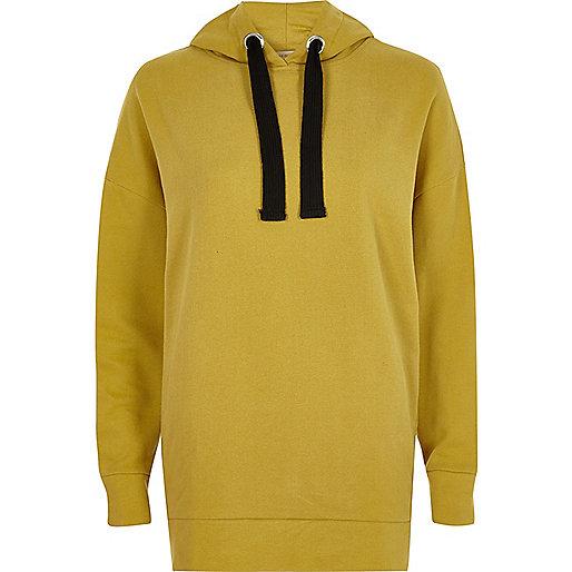 Sweat à capuche jaune moutarde oversize