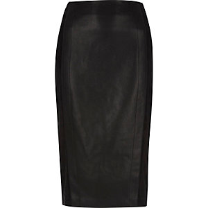 Black faux suede panel pencil skirt