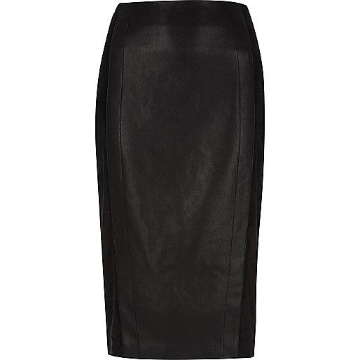 Black faux suede panel pencil skirt