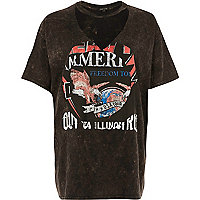 T-shirt imprimé rock marron à tour de cou