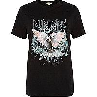 T-shirt noir aspect usé imprimé rock