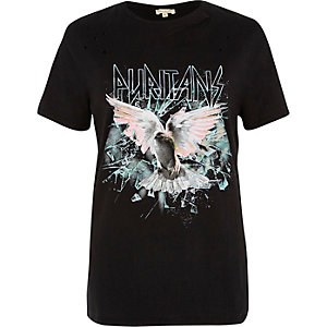 Black rock band distressed T-shirt