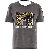 Grey washed leopard 'MTV' logo loose T-shirt
