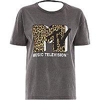 T-shirt ample avec logo MTV léopard gris délavé