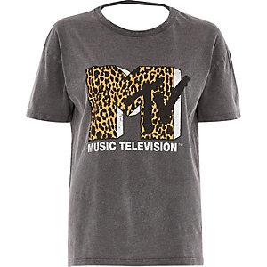 Grey washed leopard 'MTV' logo loose T-shirt