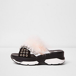 Nude fluffy embellished sporty sandals