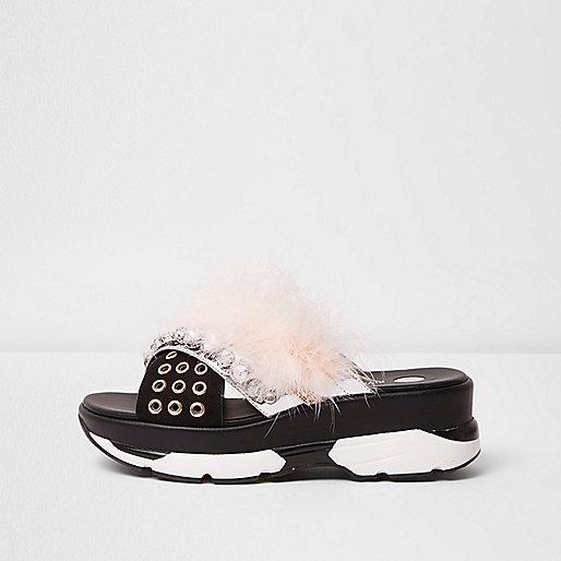 Nude fluffy embellished sporty sandals