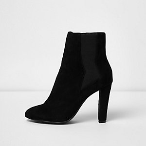 Black slim heel ankle boots