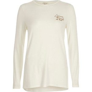 Cream embroidered long sleeve T-shirt