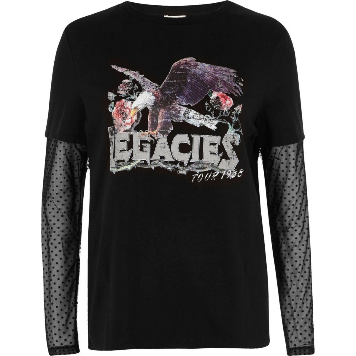 Black mesh sleeve band print T-shirt