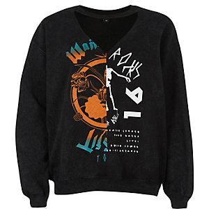 Black splice print choker sweatshirt