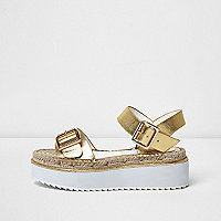 Gold metallic flatform espadrille sandals