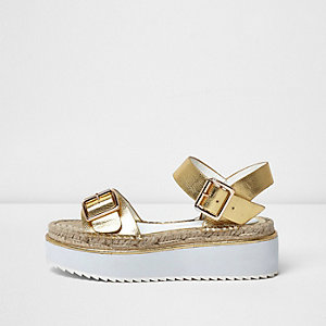Gold metallic flatform espadrille sandals
