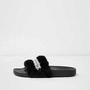 Black fluffy diamante sliders