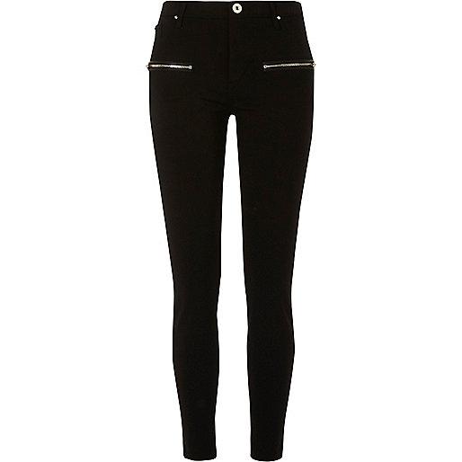 Black zip detail skinny black trousers