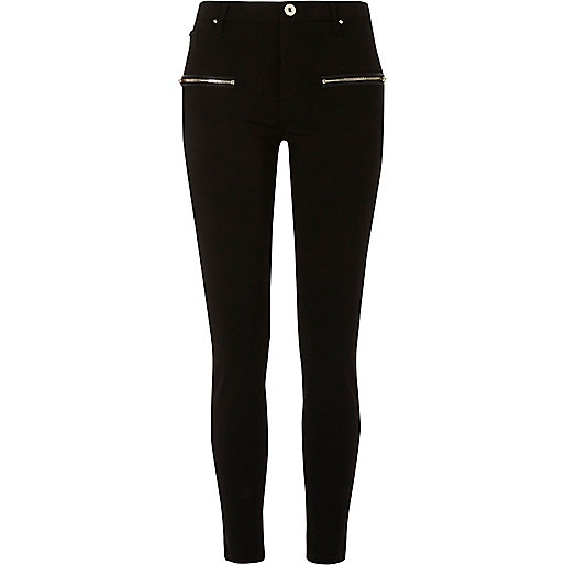 Black zip detail skinny black pants