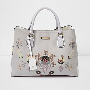 Grey faux suede sequin floral tote bag