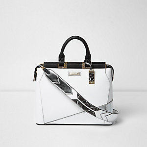 White metallic panel tote bag