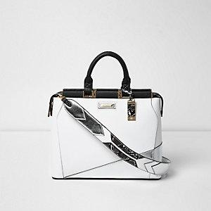 Witte handtas met metallic paneel