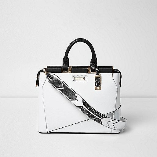 White metallic panel tote bag