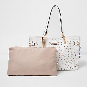White laser cut beach tote bag