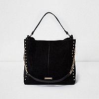 Black stud slouch chain bag