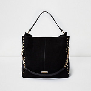 Black stud slouch chain bag